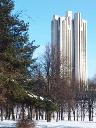 urbanistic: A view of a highrise building from a park with a tree covered with snow