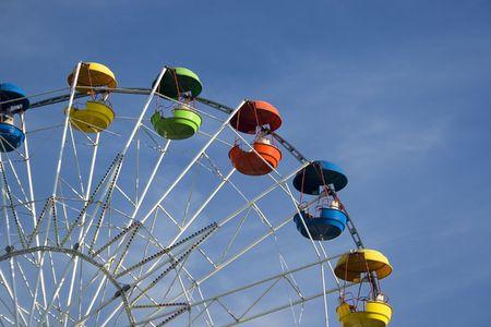 A colored ferris wheel in a children park