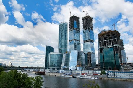 The huge construction site of the Moscow City highrise complex in Russia Stock Photo - 3225117