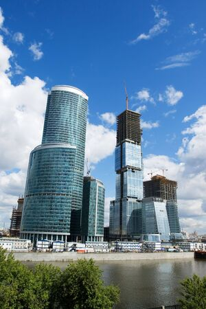 The huge construction site of the Moscow City highrise complex in Russia Imagens