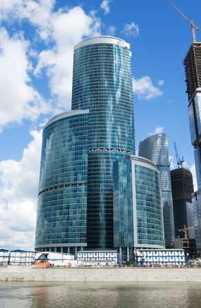 The huge construction site of the Moscow City highrise complex in Russia Stock Photo