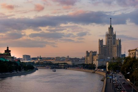 A view over Moscow city from the Moskova river bridge