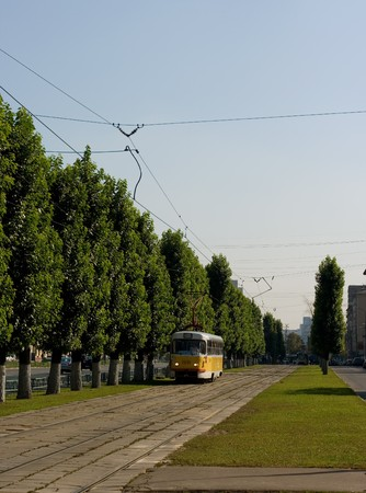 restored: A tram railroad view with a vehicle on it Stock Photo