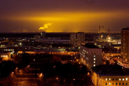A night view on an industrial district in a big city