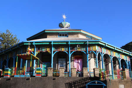 Entoto Maryam Church, an orthodox temple on the Entoto mountain in Addis Ababa 版權商用圖片 - 80420231