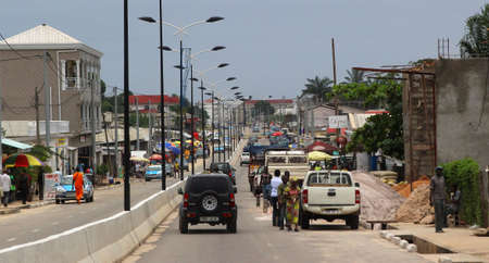 One of the main streets of the coastal city of Pointe-Noire, Congo Republic, february 2015