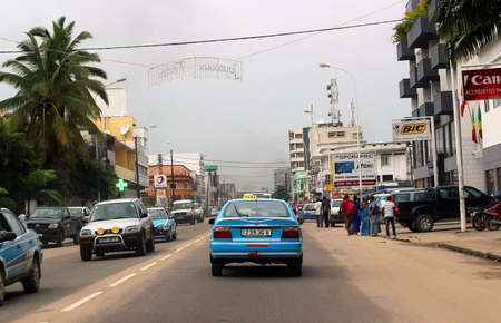 Streets and taxi cars of the coastal city of Pointe-Noire, Congo Republic, february 2015 Editorial