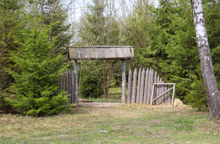 An old grey gate ruined with time and woods around