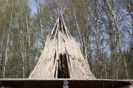 A traditional elevated house of kamchadals - nation of Kamchatka Editorial