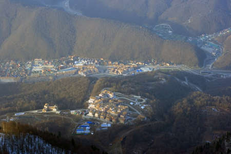 Top view of the Rosa Khutor mountain resort Editorial
