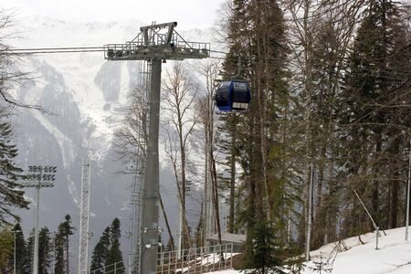 Cable way cabins near Sochi during Olympic games in 2014, Russia