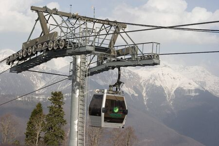 A mountain funicular for ski and snowboarders near Sochi in 2014, Russia