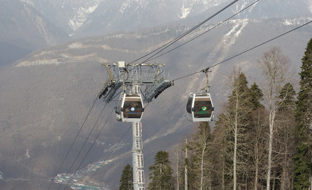 Funicular cabins on the Rosa Khutor mountain resort