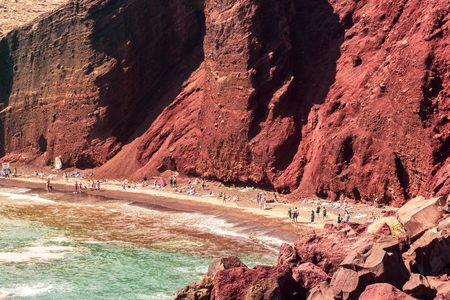 Close up of the stunning  seacoast and the Red beach. Santorini, Cycladic islands, Greece. Beautiful summer landscape