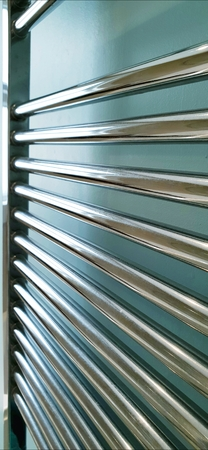 Towel Rail Chrome bathroom radiator Stock Photo