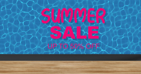 Top view swimming pool background illustration with SUMMER SALE up to 50% off text. Summer sales concept Banco de Imagens
