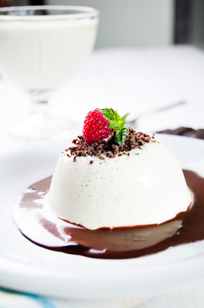 Traditional italian dessert panna cotta photo