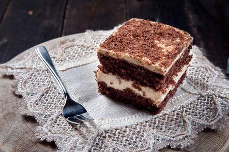 custard slices: Chocolate pie with walnut cream