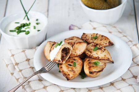 crunchy: Fried crunchy dumplings for dinner