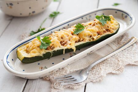 courgette: Courgette stuffed with meat and cheese