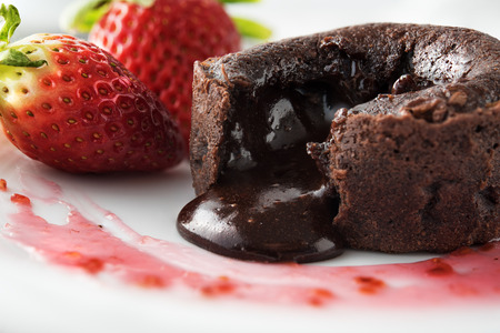 afters: Chocolate souffle with strawberries