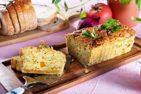 Vegetarian courgette pate on natural background