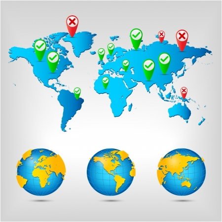Infographic world with pin location Illustration