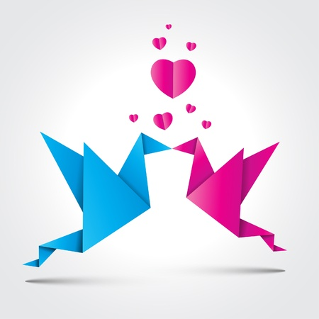 Two kissing origami birds with shadow Vector