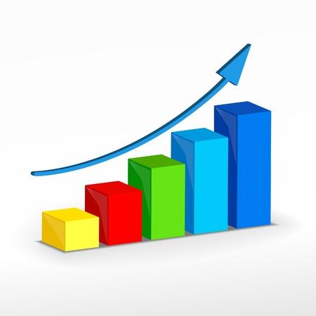 青い矢印で成功カラフルな成長