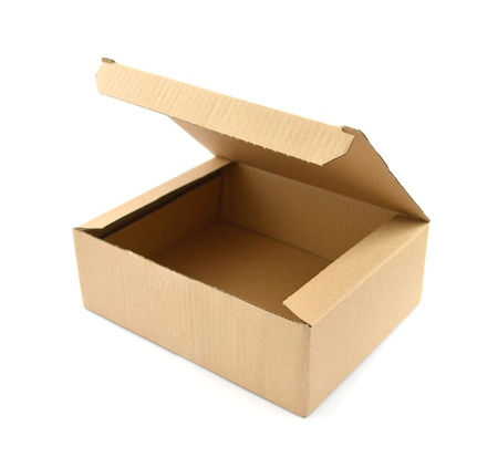 Open Cardboard box isolated on white background with clipping path