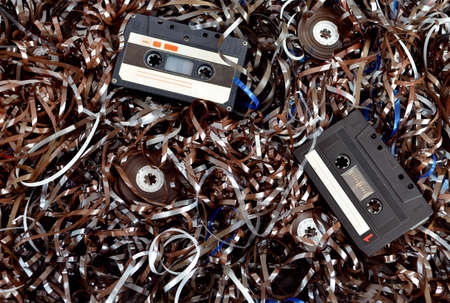 Cassette and tape background Stock Photo