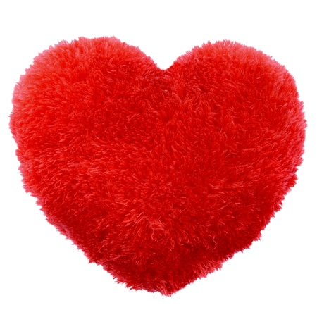 Fluffy heart shape Valentines Day pillow Stock Photo