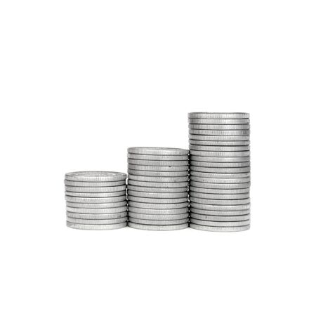 Growth Stack Silver Coin, Success or crisis  Stock Photo
