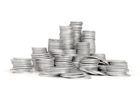 Stack Silver Coin, Success or crisis  Stock Photo