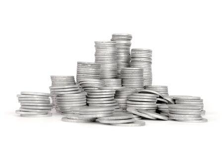 Stack Silver Coin, Success or crisis  Stock Photo