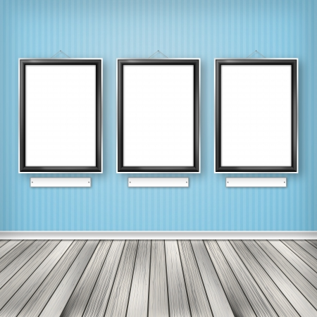 Three empty frames on a wall