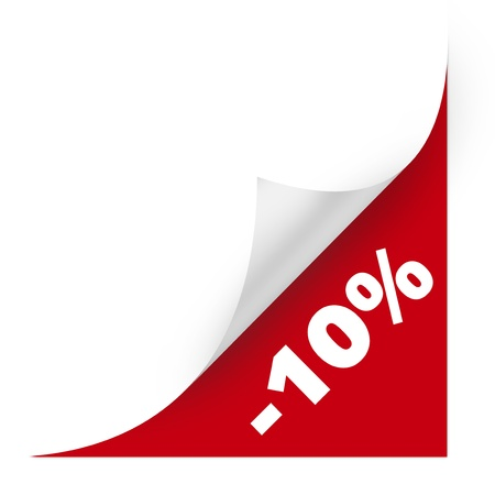 percentage sign: Sale curved corner paper. High resolution color illustration.