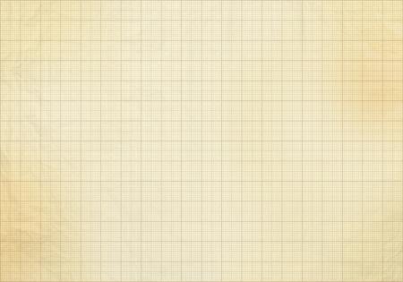 Blank millimeter old graph paper grid sheet background or textured Standard-Bild