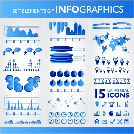 Blue infographics. Universal vector icons set. Statistic. Stock Vector - 19793781