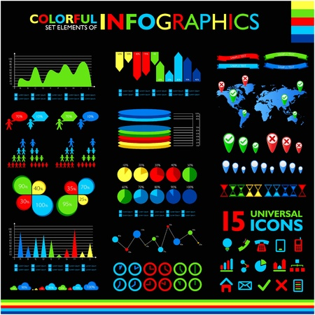 Colorful infographics set on black background and icons set  Vector