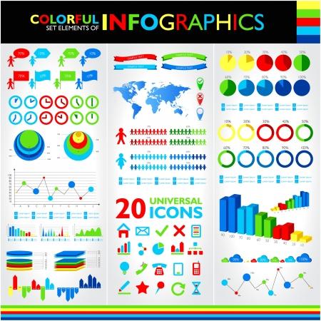 カラフルなインフォ グラフィック セットし、ベクトルの普遍的なアイコン