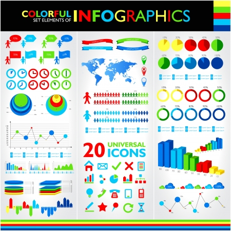 Colorful infographics set and vector universal icons