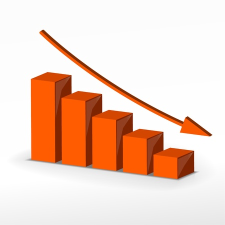 decline: 3D business decline graph  Vector business concept