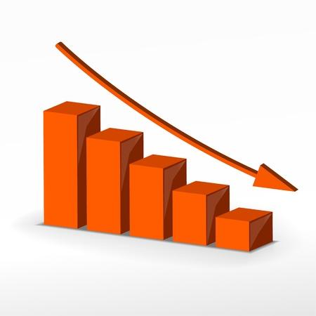3D business decline graph  Vector business concept