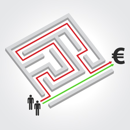 Labyrinth with arrow, people and euro symbol  Ilustracja