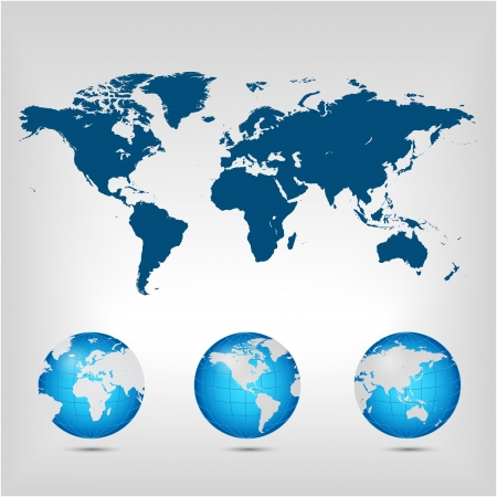 World map  Globe  Earth  Planet  Vector Illustration Illustration