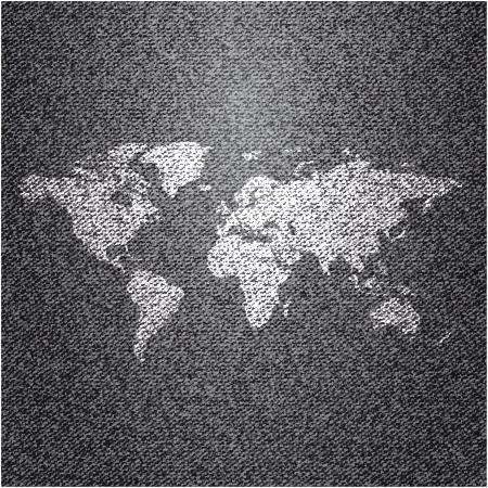 Mappa del mondo su sfondo jeans Struttura di vettore Archivio Fotografico - 19793888