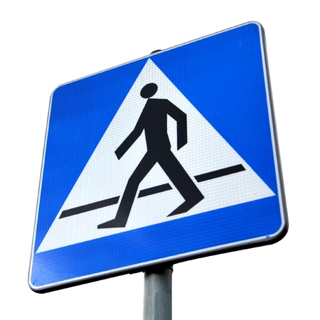 Pedestrian crossing sign. High resolution color image.