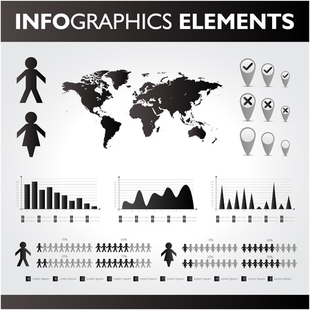 Black and white infographics set  Vector icons  Vector