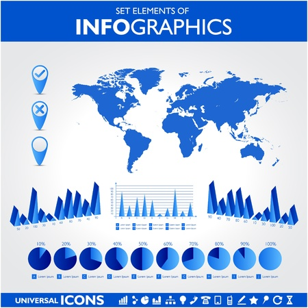 Blue infographics  Universal vector icons set  Statistic  Illustration